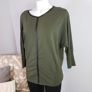 Two by Vince Camuto olive green top faux leather